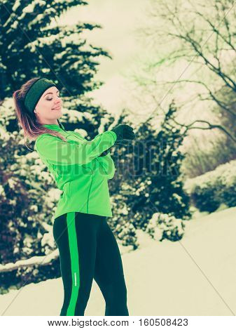 Woman Fit Sport Model Training Outdoor On Cold Day