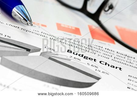 Pen with glasses on the  budget charts