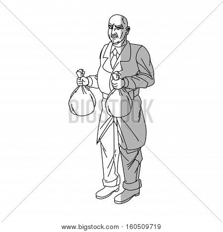 Thief cartoon with money bag icon. Man comic character and caricature theme. Isolated design. Vector illustration