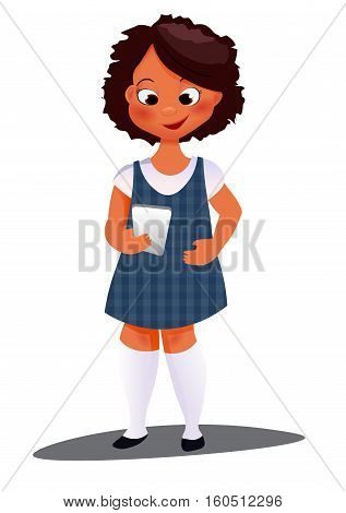 girl character typing on her smart-phone display. afro little child. Young Happy Girl Writes a text message At Cellphone