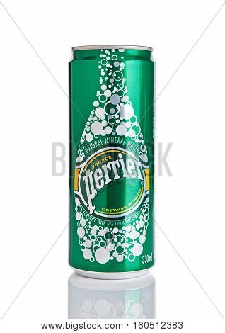 LONDON UK - DECEMBER 06 2016: Tin of Perrier sparkling mineral water. Perrier is a French brand of natural bottled mineral water sold worldwide.