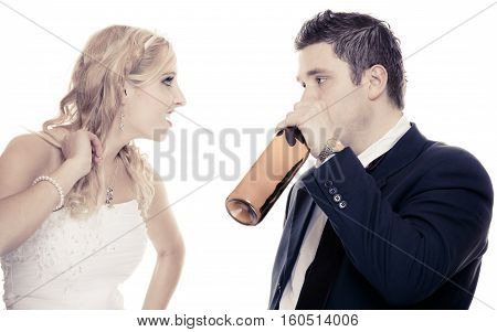 Wedding couple unhappy bride with alcoholic drinking groom. Woman looking her future - violence alcoholism problems concept