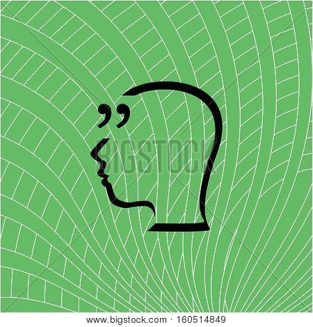 Quotation Mark Speech Bubble. Quote Sign Icon. People Head. Education Concept