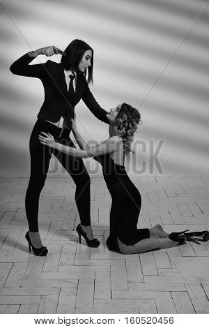 Hitwoman With A Gun Threatening Young Beautiful Girl