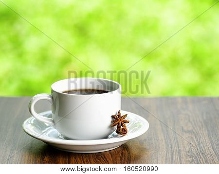Coffee And Oatmeal Cookies On Nature Background