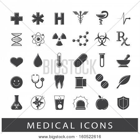 Set of medical and pharmaceutical icons. Collection of icons for medical care and protection.