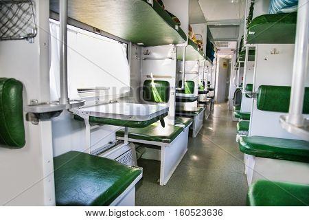 Interior of a coupe in a slip passenger train  in Azerbeijan.