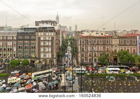 Mexico City, Mexico - July 6, 2013: Aerial view of the historic center of Mexico City Mexico.
