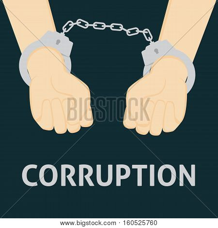 Flat Design of Corrupt People with Handcuffed Hand