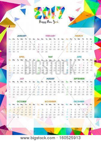 Complete Set of 12 Months, 2017 Calendar.