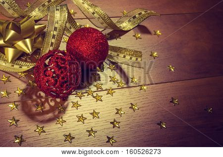 Christmas decorations in a traditional holiday still-life composition