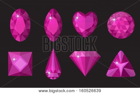 Pink gems set. Jewelry, crystals collection isolated on black background. Precious stones of different shapes, cut. Colorful pink gemstones. Realistic, cartoon style. Vector illustration