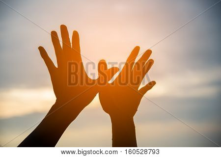 Shilhouette hands creating in the shape of bird with sunset