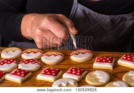 decoration cookies icing, christmas gingerbread celebration background