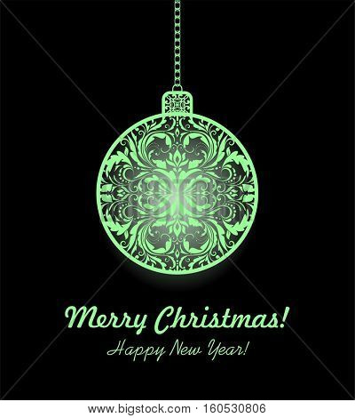 Vintage xmas greeting with hanging decorative ball