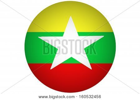 Myanmar flag ,3D Myanmar national flag illustration symbol, Burma