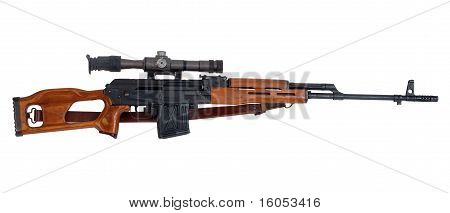 Military sniper rifle with telescopic sight.