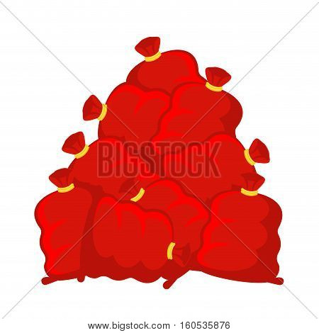 Pile Santa Bag. Many Red Christmas Sack. New Year Gifts Depository. Storehouse Sackful Of Gifts. Xma
