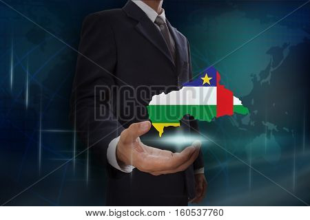 Businessman showing map of Central African Republic on globe background