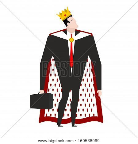 Boss King In Crown And Royal Cloak. Businessman Prince. Head In Regal Mantle. Director Emperor