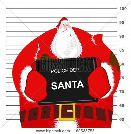 Santa Claus Beaten At Police Department. Christmas Fight. Bad Santa Criminal. Broken Glasses And Bla