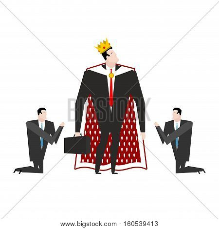 Boss King Worship. Manager Praying To Chief. Businessman Kneeling In Front Of Director Of Emperor In