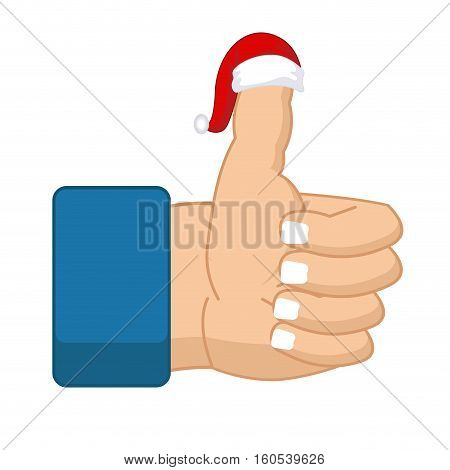 Like Santa Claus. Thumb Up. Symbol All Right. Success Gesture. Red Christmas Hat