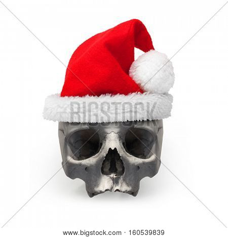 Santa's skull with traditional hat on white background. Dead Santa Claus after christmas party. Life insurance theme.