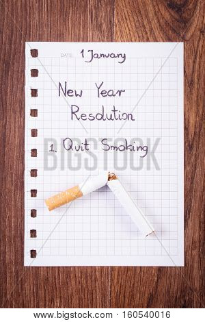 New Years Resolutions Written On Sheet Of Paper, Quit Smoking, World No Tobacco Day
