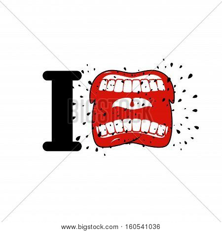 I Hate Template. Shout Symbol Of Hatred. Aggressive Open Mouth. Yelling And Cursing