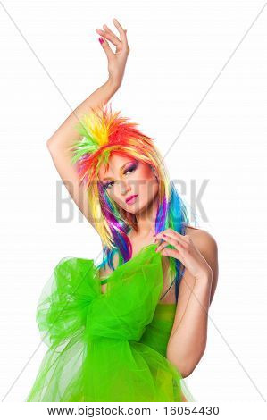 girl withmulticolored wig anddress with big green bow