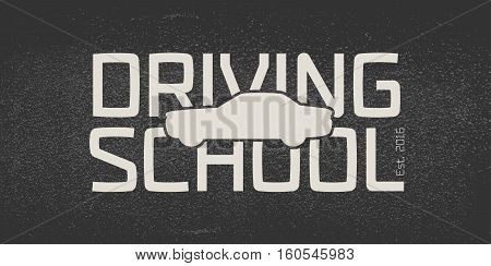 Automobile driving school vector logo sign emblem. Car auto silhouette design element. Driving lessons concept illustration insignia advertising