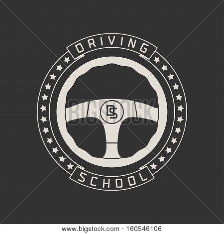Driving license school vector logo sign emblem. Steering wheel graphic design element. Driving lessons concept illustration