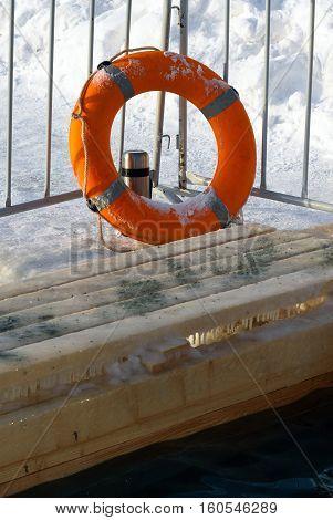Lifebuoy Near Ice-hole On Epiphany Day. Russia