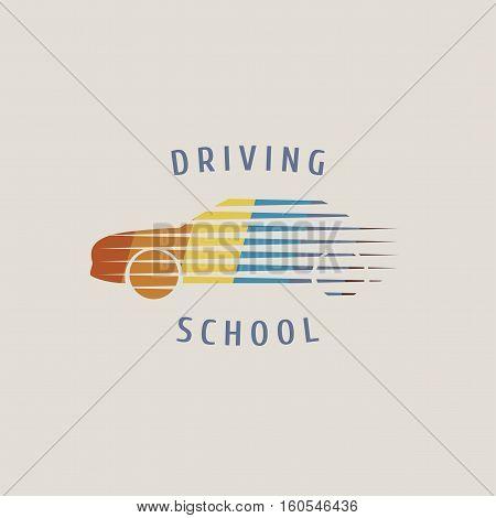 Automobile driving school vector logo sign emblem. Car auto transportation graphic design element. Driving lessons concept illustration
