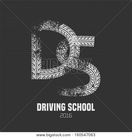 Driving school vector logo sign symbol emblem. Wheel print graphic design element. Professional driving lessons for auto license concept illustration