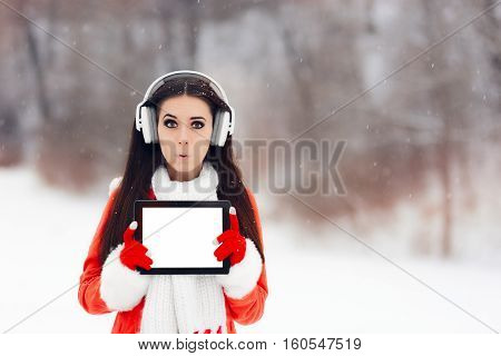 Funny Girl with Headphones Holding Tablet Pc