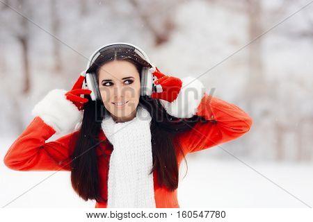 Happy Winter Woman With Wireless Headphones Outside