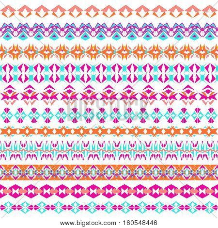 Vector set of geometric borders in ethnic boho style. Collection of pattern brushes inside. Aztec tribal ornaments