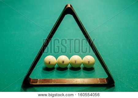 billiard balls collected in the figure on the table
