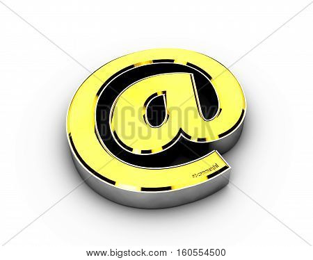 3d Illustration with gold e-mail symbol on white background