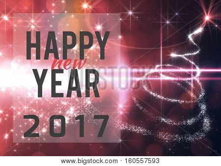 Happy new year 2017 wishes on 3D digitally generated background