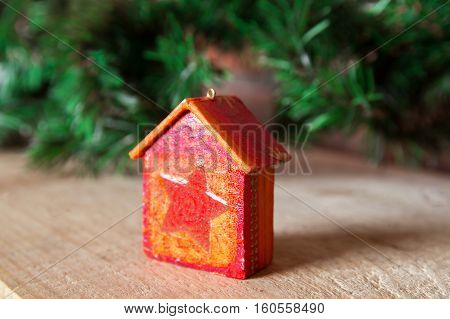 Fir Tree Decoration: Handmade Christmas Houses With Ornaments