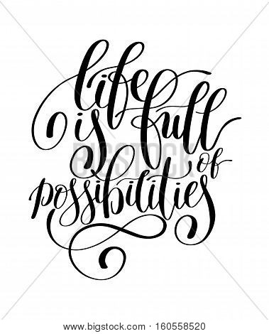 Inspirational Quote in English, Hand drawn Text Vector Illustration, Decorative Design Words in Curly Fonts. Great design for a greeting card or a print. Isolated on white background