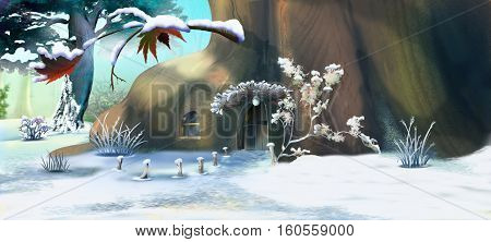 Forest Gnome's House in Winter. Panorama View. Handmade illustration in a classic cartoon style.