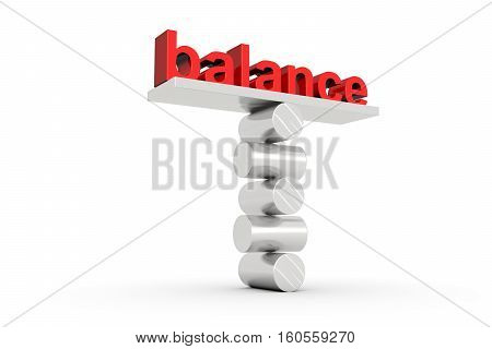 balance text concept white background 3d illustration