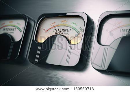 Internet speed level test concept. Maximum position. 3d illustration