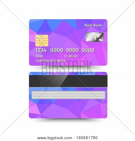 Vector illustration of Credit Card two sides with Abstract Polygon design on white background. Different coloured sample