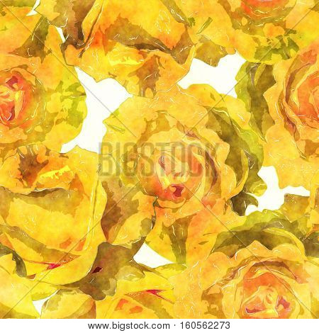 art vintage watercolor floral seamless pattern with monochrome yellow gold roses on white background