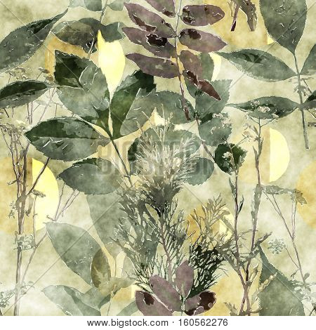 art vintage watercolor floral seamless pattern with monochrome green leaves and grasses on old gold background